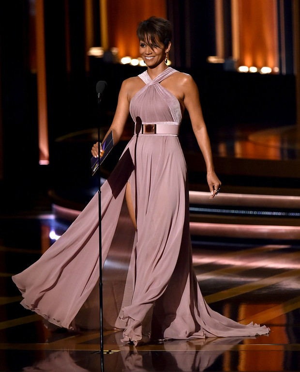 . Actress Halle Berry speaks onstage at the 66th Annual Primetime Emmy Awards held at Nokia Theatre L.A. Live on August 25, 2014 in Los Angeles, California.  (Photo by Kevin Winter/Getty Images)