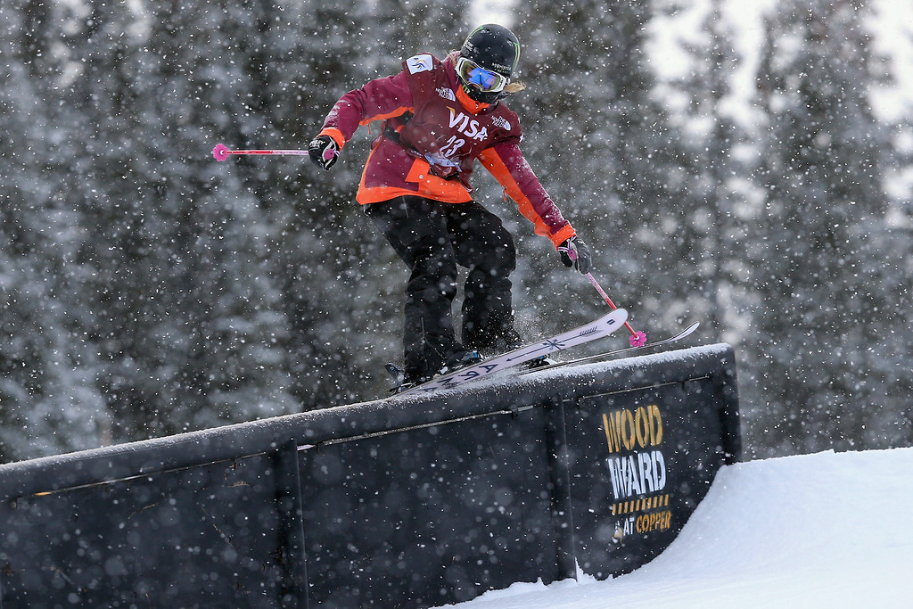 . Maggie Voisin in action during qualifying for the women\'s FIS Slopestyle Ski World Cup at the U.S. Snowboarding and Freeskiing Grand Prix on December 20, 2013 in Copper Mountain, Colorado.  (Photo by Doug Pensinger/Getty Images)
