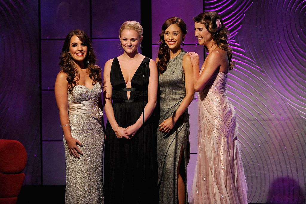 . (L-R) Actors Kristin Alderson, Hunter King, Lindsey Morgan and Jacqueline MacInnes Wood speak onstage during The 40th Annual Daytime Emmy Awards at The Beverly Hilton Hotel on June 16, 2013 in Beverly Hills, California.  (Photo by Kevin Winter/Getty Images)