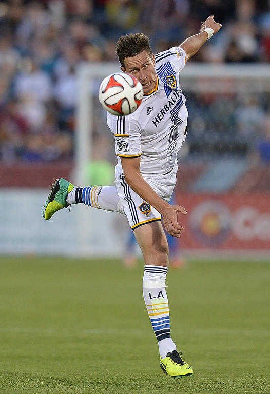 . COMMERCE CITY, CO - MAY 3: Los Angeles forward Rob Friend had the ball go over his head  in the first half. The Colorado Rapids defeated the Los Angeles Galaxy 1-0 Saturday night, May 3, 2014 at Dick\'s Sporting Good Park. (Photo by Karl Gehring/The Denver Post)