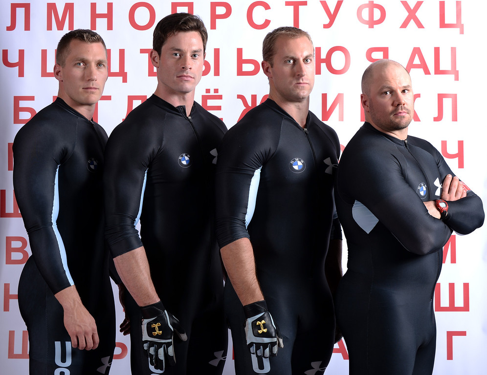 . L-R) Bobsledders Chris Fogt, Steve Langton, Curt Tomasevicz and Steve Holcomb pose for a portrait during the USOC Media Summit ahead of the Sochi 2014 Winter Olympics on September 29, 2013 in Park City, Utah.  (Photo by Harry How/Getty Images)