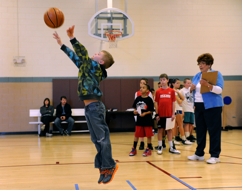 . DENVER, CO. - FEBRUARY 23: Kean Beasley, 8, takes his turn at the shooting skill test. The Tamarac Optimist Club sponsors one of the Tri-Star Basketball Competitions at the Eisenhower Recreation Center in Denver. The competitions are held over a several week period for boys and girls 8-13 years-old. The winners from this competition go on to the regional finals, and those winners will play in the final competition on Mar. 23, 2013 at the Pepsi Center before a Nuggets game. There are still several opportunities for kids to try out. Go to www.tristarbasketball.org for upcoming times and locations. (Photo By Kathryn Scott Osler/The Denver Post)