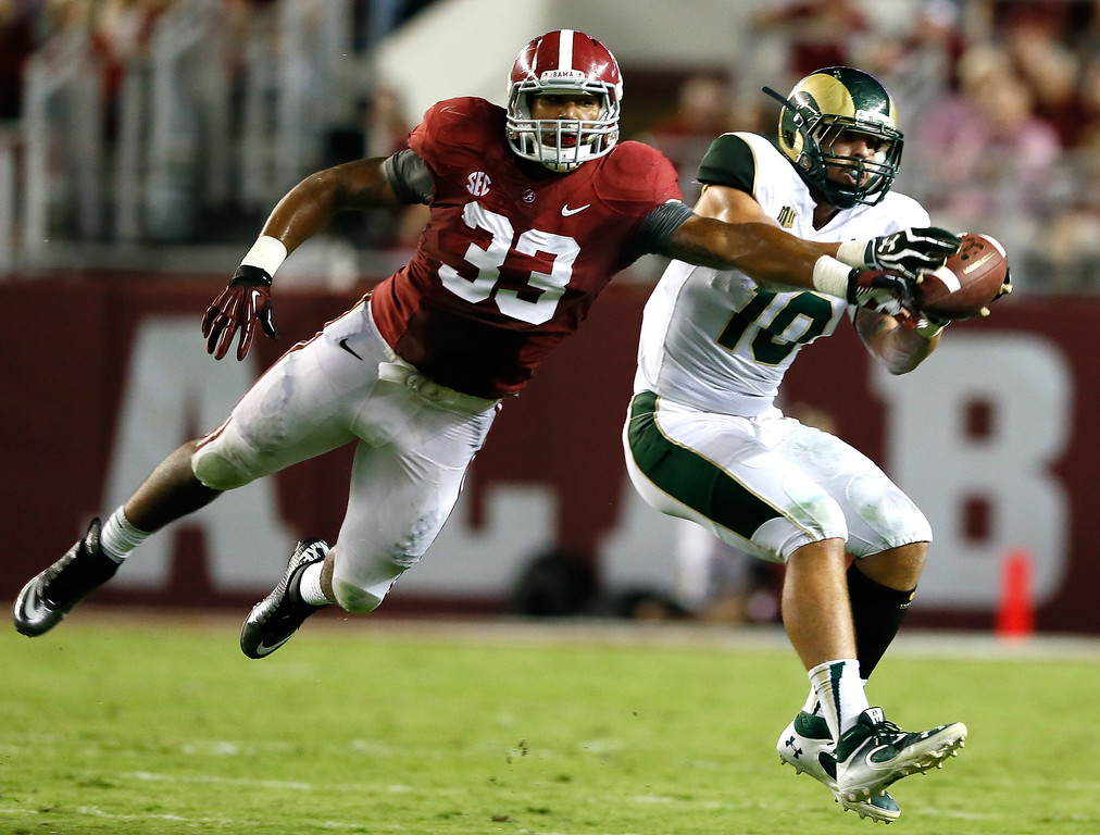 . TUSCALOOSA, AL - SEPTEMBER 21:  Trey DePriest #33 of the Alabama Crimson Tide breaks up a pass intended for Crockett Gillmore #10 of the Colorado State Rams at Bryant-Denny Stadium on September 21, 2013 in Tuscaloosa, Alabama.  (Photo by Kevin C. Cox/Getty Images)
