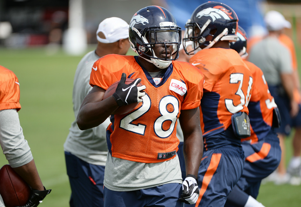 . Montee Ball of Denver Broncos (28) is in the Denver Broncos 2014 training camp at Dove Valley, Englewood, Colorado, August 01, 2014. (Photo by Hyoung Chang/The Denver Post)