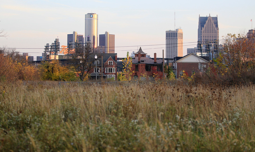 ". In this Oct. 24, 2012 file photo, an empty field north of Detroit\'s downtown is shown. The city of Detroit says it reached an ""important settlement\"" Monday, July 15, 2013 with some creditors as it tries to get rid of billions of dollars of debt. The disclosure was made Monday in a court filing in a lawsuit involving the city, an insurance company and a bank. The filing doesn\'t reveal any details, but it says Detroit no longer needs a restraining order in a dispute over taxes and casino revenue.  (AP Photo/Carlos Osorio, File)"
