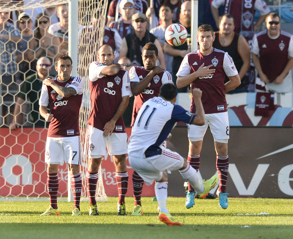 . COMMERCE CITY, CO - AUGUST 1: Salt Lake midfielder Javier Morales aimed a free kick over a wall of Colorado defenders in the first half. The Colorado Rapids hosted Real Salt Lake at Dick\'s Sporting Goods Park Saturday night, August 1, 2014.  Photo by Karl Gehring/The Denver Post