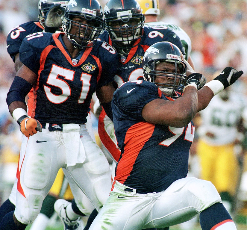 . Denver Broncos Keith Traylor celebrates after making a  3rd down and long stop aginst the Green Bay Packers during Super  Bowl XXXII in San Diego CA. The Denver Broncos defeated the Green  Bay Packers 31-24.  (John Leyba/The Denver Post)
