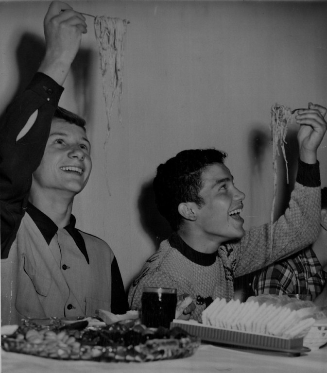. MAY 17 1949, Mullen Home for Boys The most practical method of eating spaghetti is pondered by John Craig (left), 17, and Ralph Martinez, 15, as they put away their share of a dinner for forty orphans from the Mullen Home for Boys at Gaetano\'s restaurant, 3760 Tejon street. The Tuesday night dinner was sponsored by Anthony Smaldone, manager of the restaurant.  Credit: The Denver Post