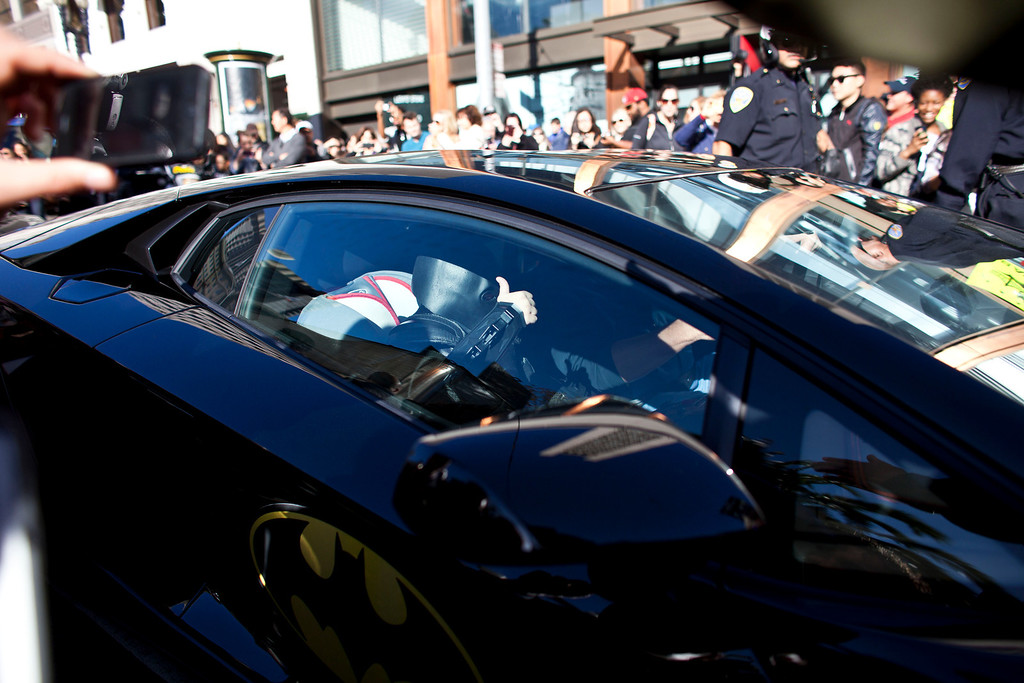 . 5-year-old leukemia survivor Miles, also known as BatKid gives a thumbs up as he exits his cave at Union Square November 15, 2013 in San Francisco. Make-A-Wish Greater Bay Area foundation turned the city into Gotham City for Miles by creating a day long event bringing his wish to be a BatKid to life. (Photo by Ramin Talaie/Getty Images)