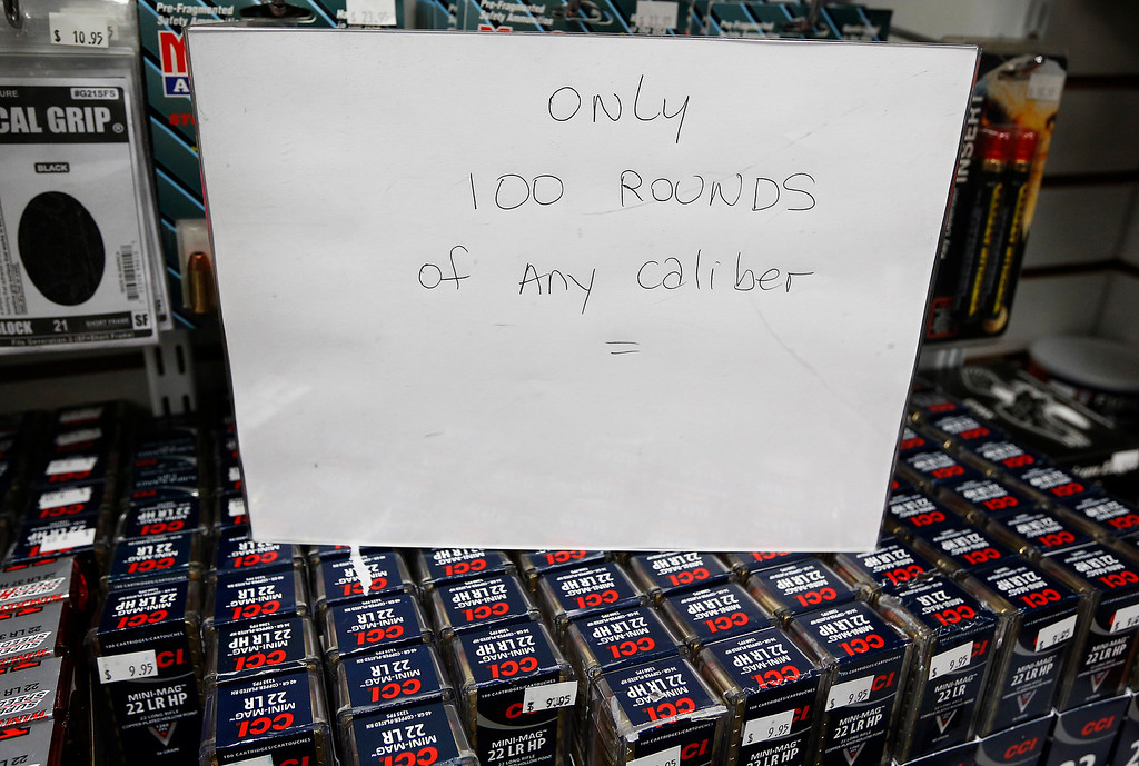 . A sign is seen on top of ammunition at Coliseum Gun Traders Ltd. in Uniondale, New York January 16, 2013.  REUTERS/Shannon Stapleton