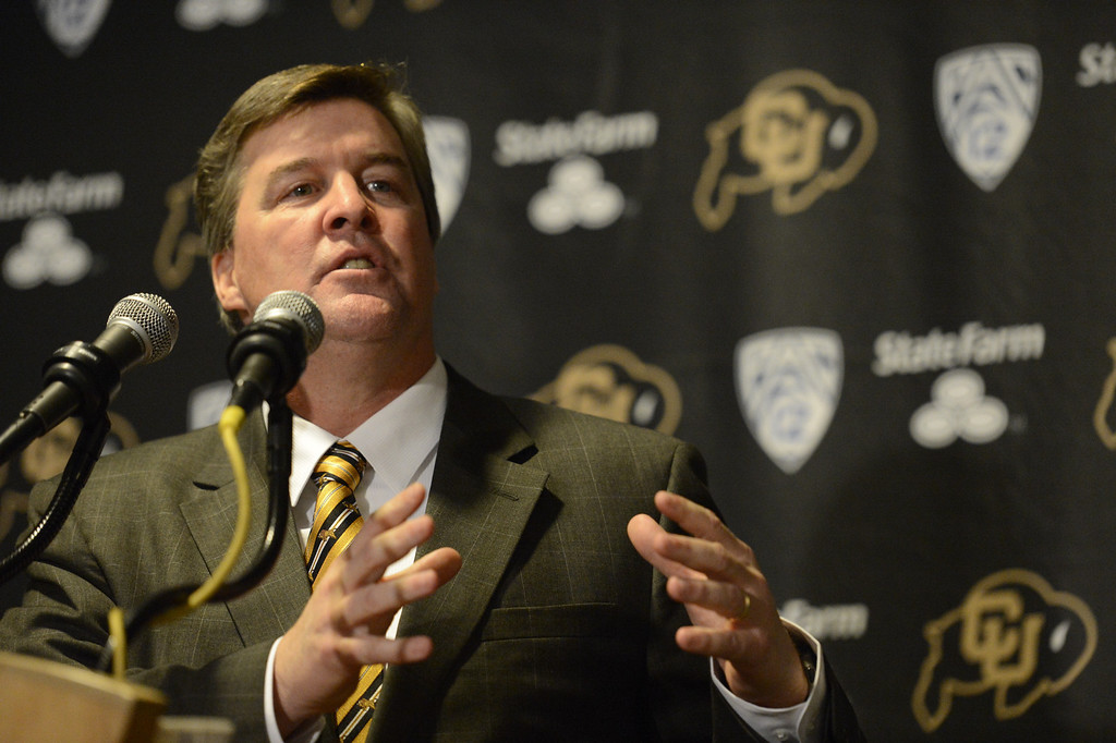 . The University of Colorado at Boulder introduced Mike MacIntyre as its new head football coach at a press conference Monday, December 10, 2012  at the Byron White Club Room at Folsom Field. MacIntyre will be the 25th full-time head football coach in the CU history as he comes from San Jose State. John Leyba, The Denver Post