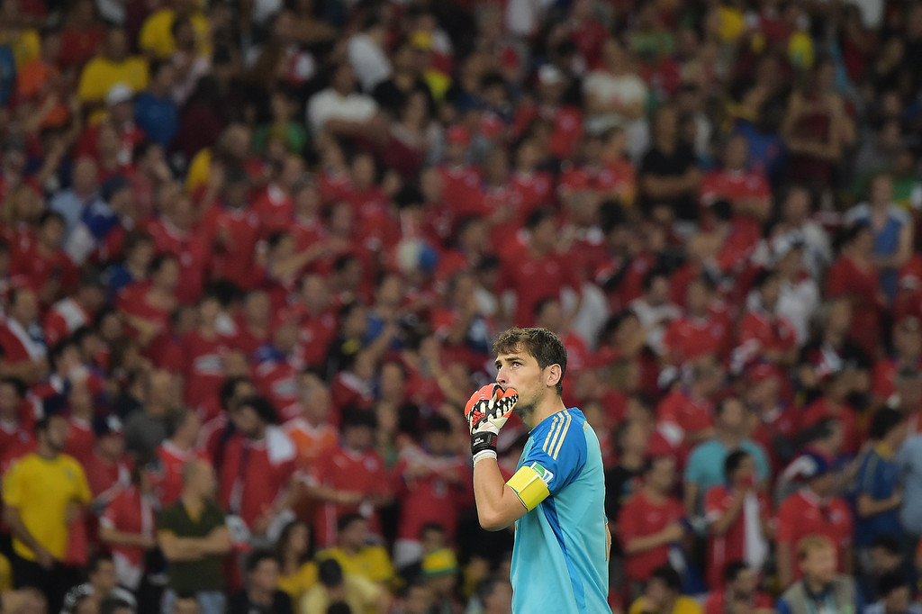 . Spain\'s goalkeeper and captain Iker Casillas looks on during a Group B football match between Spain and Chile in the Maracana Stadium in Rio de Janeiro during the 2014 FIFA World Cup on June 18, 2014. GABRIEL BOUYS/AFP/Getty Images