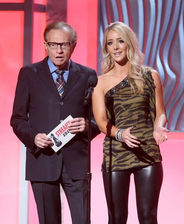 . Presenters Larry King (L) and Jenna Marbles speak onstage at the 3rd Annual Streamy Awards at Hollywood Palladium on February 17, 2013 in Hollywood, California.  (Photo by Frederick M. Brown/Getty Images)