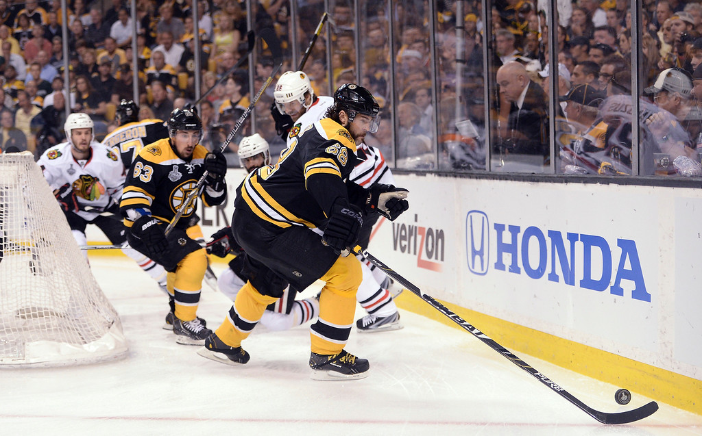 . Jaromir Jagr #68 of the Boston Bruins handles the puck in the first period against the Chicago Blackhawks in Game Four of the 2013 NHL Stanley Cup Final at TD Garden on June 19, 2013 in Boston, Massachusetts.  (Photo by Harry How/Getty Images)