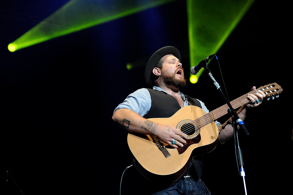 . Nathaniel Rateliff performs during the Colorado Rising flood relief benefit concert at the 1st Bank Center on October 27, 2013 in Broomfield, Colorado.  (Photo by Seth McConnell/The Denver Post)