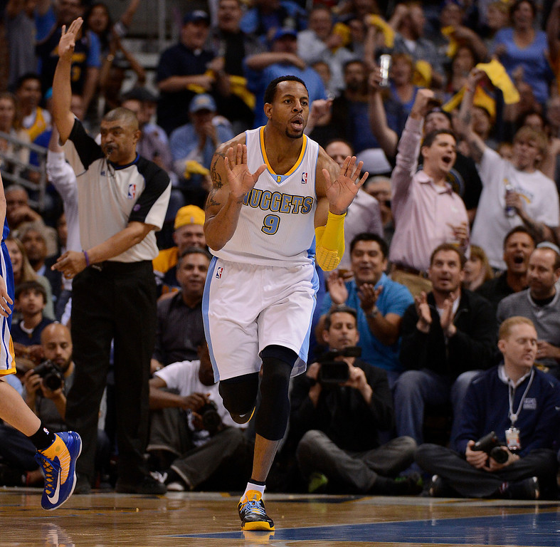 . Denver Nuggets shooting guard Andre Iguodala (9) celebrates a basket. The Denver Nuggets took on the Golden State Warriors in Game 5 of the Western Conference First Round Series at the Pepsi Center in Denver, Colo. on April 30, 2013. (Photo by John Leyba/The Denver Post)