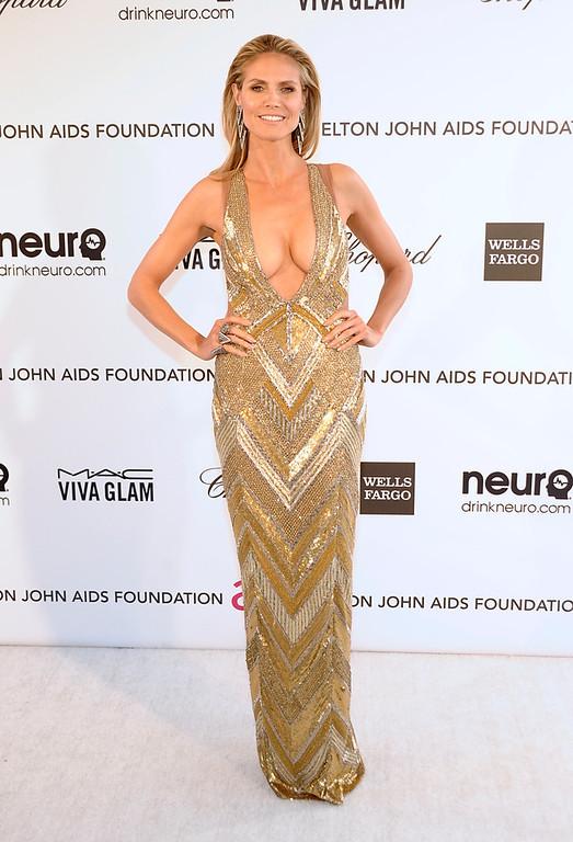 . Model Heidi Klum arrives at the 2013 Elton John Oscar Party in West Hollywood, Calif. on Sunday, Feb. 24, 2013. (Dan Steinberg/Invision/AP)