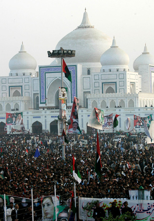 . Pakistan Peoples Party (PPP) supporters gather to listen to the speech of Bilawal Bhutto Zardari, son of assassinated former Pakistani prime minister Benazir Bhutto, to launch his political career during the fifth anniversary of his mother\'s death, at the Bhutto family mausoleum in Garhi Khuda Bakhsh, near Larkana December 27, 2012. Benazir Bhutto was killed in a gun and suicide bomb attack after an election rally in the city of Rawalpindi on December 27, 2007, weeks after she returned to Pakistan after years in self-imposed exile. REUTERS/Nadeem Soomro