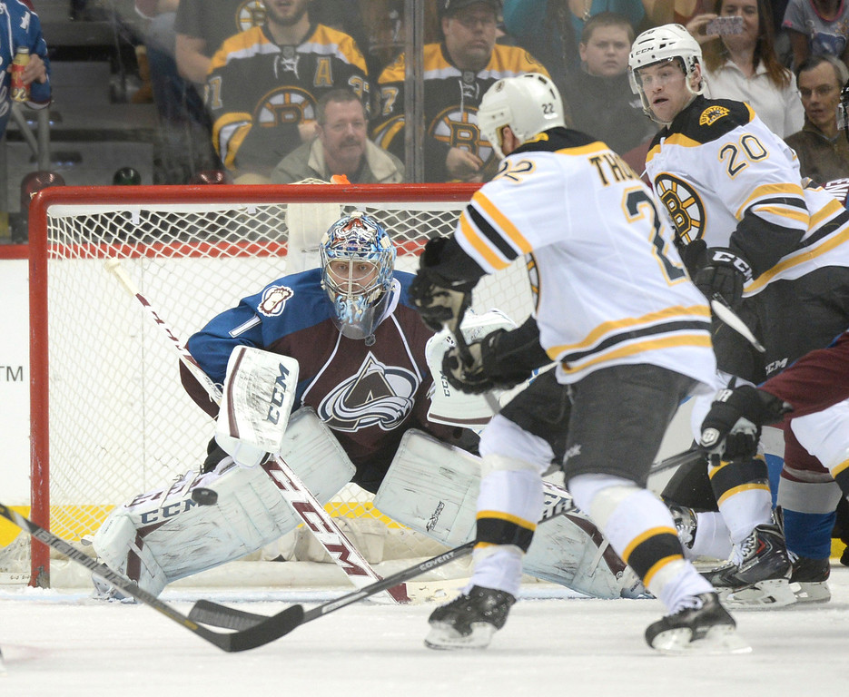 . Colorado goaltender Semyon Varlamov watched the puck as the Bruins went on the attack in the third period. The Boston Bruins blanked the Colorado Avalanche 2-0 at the Pepsi Center Friday night, March 21, 2014. (Photo by Karl Gehring/The Denver Post)