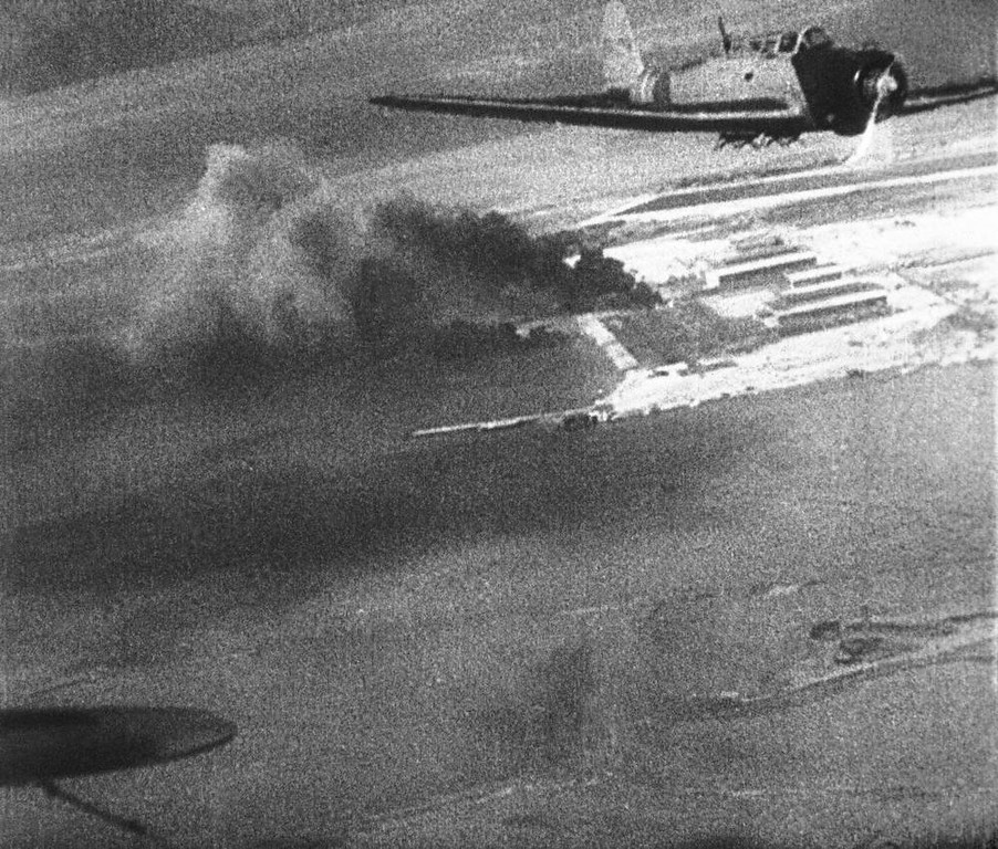 . Japanese planes over Hawaii during the attack on Pearl Harbor, Dec. 7, 1941, are shown in this scene from a Japanese newsreel. The film was obtained by the U.S. War Department and released to U.S. newsreels. (AP Photo/U.S. War Department)