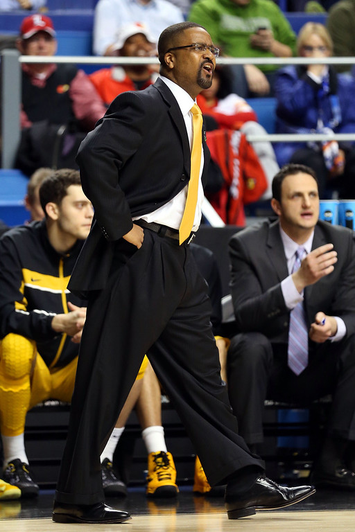 . LEXINGTON, KY - MARCH 21:  Head coach Frank Haith of the Missouri Tigers shouts from the bench against the Colorado State Rams during the second round of the 2013 NCAA Men\'s Basketball Tournament at the Rupp Arena on March 21, 2013 in Lexington, Kentucky.  (Photo by Andy Lyons/Getty Images)