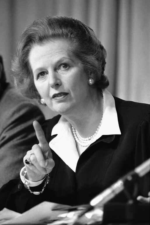 ". In this May 31, 1983 file photo, Britain\'s Prime Minister Margaret Thatcher raises her finger as she makes a point during a Conservative Party news conference in London. Ex-spokesman Tim Bell says that Thatcher has died. She was 87. Bell said the woman known to friends and foes as ""the Iron Lady\"" passed away Monday morning, April 8, 2013. (AP Photo/File)"