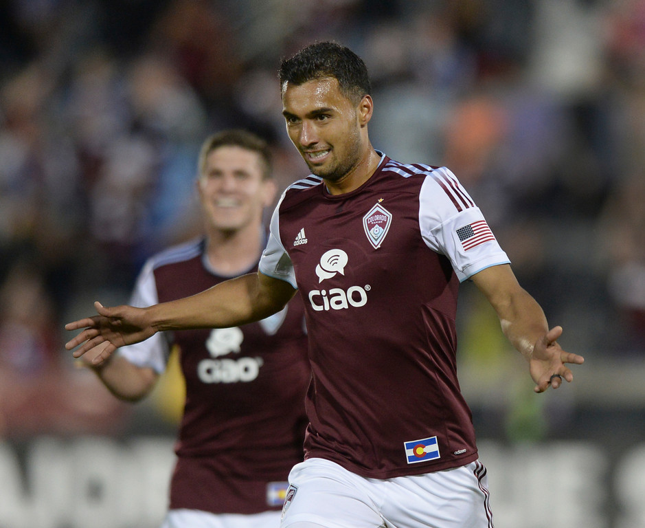 . Colorado forward Kamani Hill celebrated his second half goal Saturday night. The Colorado Rapids defeated the Montreal Impact 4-1 Saturday night, May 24, 2014. (Photo by Karl Gehring/The Denver Post)
