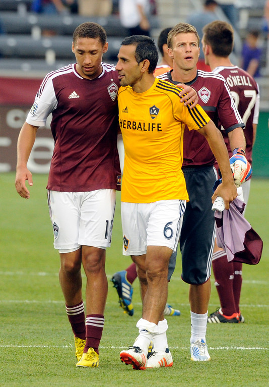. COMMERCE CITY, CO. - JULY 27:  Rapids defender Christopher Klute, left, talked with former teammate Pablo Mastroeni, right, following the game. The Colorado Rapids defeated the Los Angeles Galaxy 2-0 Saturday, July 27, 2013.  Photo By Karl Gehring/The Denver Post