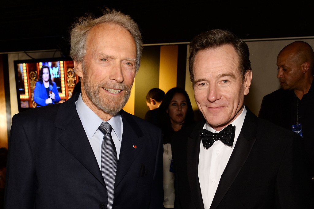 . Actors Clint Eastwood (L) and Bryan Cranston attend the 68th Annual Tony Awards at Radio City Music Hall on June 8, 2014 in New York City.  (Photo by Dimitrios Kambouris/Getty Images for Tony Awards Productions)