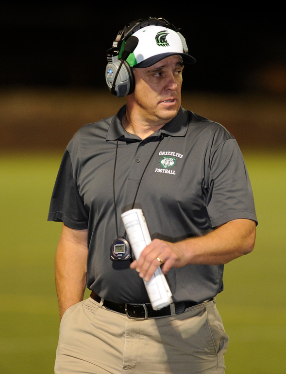 . HIGHLANDS RANCH, CO. - SEPTEMBER 13: Joe Johnson is the head coach of the Grizzlies. The ThunderRidge High School football team hosted Grandview at Shea Stadium Friday night, September 13, 2013.  Photo By Karl Gehring/The Denver Post