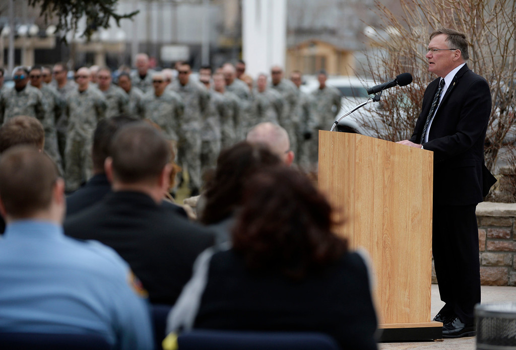 . Executive director of the Colorado Department of Corrections, Rick Raemisch, speaks at the Colorado Department of Corrections Fallen Officer Memorial fallen executive director of the DOC, Tom Clements at the Territorial Correctional Facility park Saturday morning, March 15, 2014.  (Photo By Andy Cross / The Denver Post)