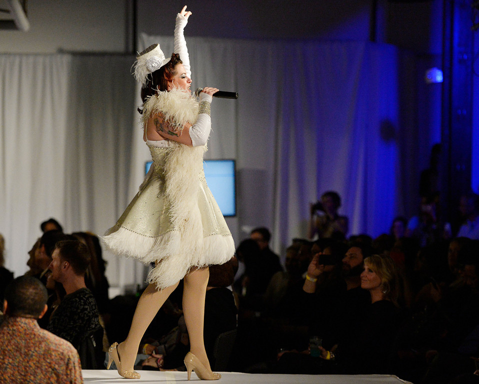 . Cora Vette sings to open the second annual Westword Whiteout Fashion Show at the McNichols Building in Denver feature Denver designers on Thursday, January 30, 2014.  (Denver Post Photo by Cyrus McCrimmon)
