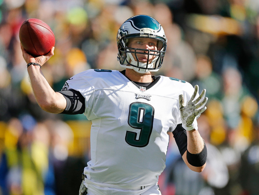 . Nick Foles #9 of the Philadelphia Eagles throws a first quarter pass while playing the Green Bay Packers at Lambeau Field on November 10, 2013 in Green Bay, Wisconsin. (Photo by Gregory ShamusGetty Images)