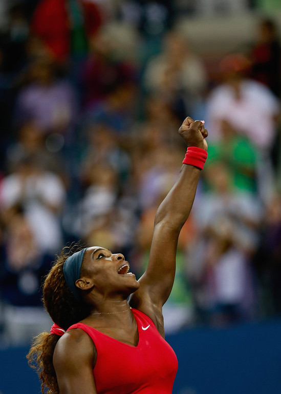 . Serena Williams of the United States celebrates winning her women\'s singles final match against Victoria Azarenka of Belarus on Day Fourteen of the 2013 US Open at the USTA Billie Jean King National Tennis Center on September 8, 2013 in New York City.  (Photo by Chris Trotman/Getty Images for the USTA)