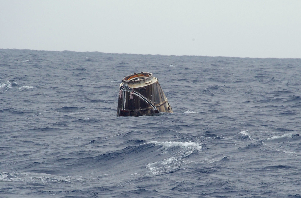 . In this photo provided by SpaceX, the Dragon spacecraft floats on the surface of the Pacific Ocean about 500 miles off Mexico\'s Baja California on Thursday, May 31, 2012 after its mission to the International Space Station. (AP Photo/SpaceX, Michael Altenhofen)
