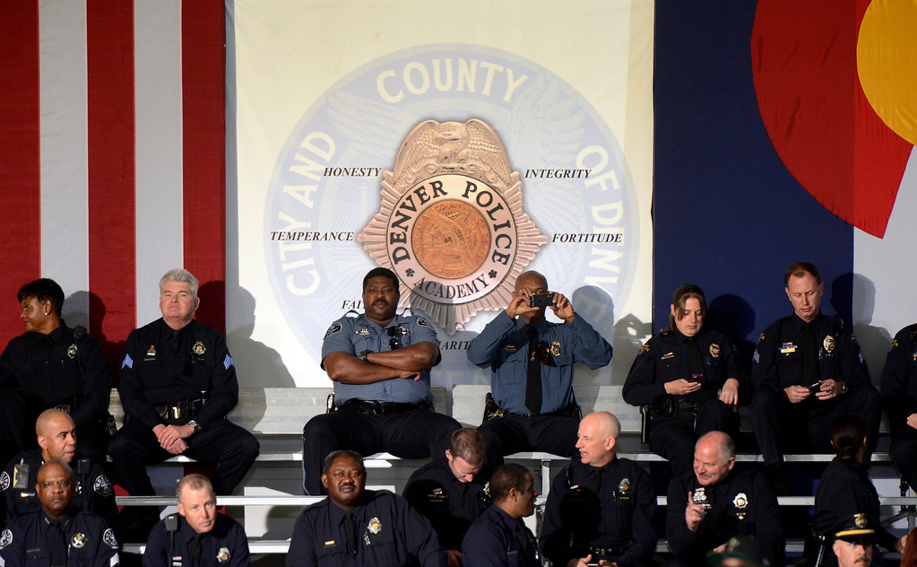 . DENVER, CO. - APRIL 03: Law enforcement officers await the arrival of President Barack Obama before a forum at the Denver Police Academy in Denver, CO April 03, 2013.  (Photo By Craig F. Walker/The Denver Post)