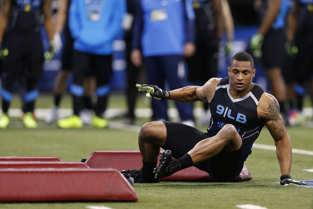 . Former California linebacker Khairi Fortt falls while running a position drill during the 2014 NFL Combine at Lucas Oil Stadium on February 24, 2014 in Indianapolis, Indiana. (Photo by Joe Robbins/Getty Images)