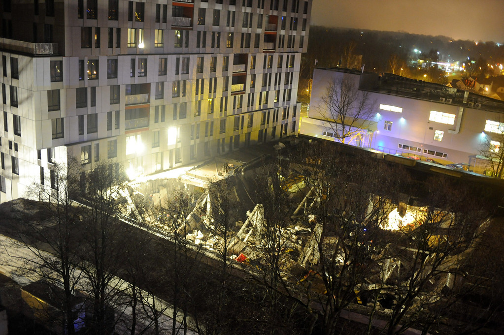 . A  late Thursday, Nov. 21, 2013 view of the collapsed Maxima supermarket in Riga, Latvia.  (AP Photo/ Maris Morkans)