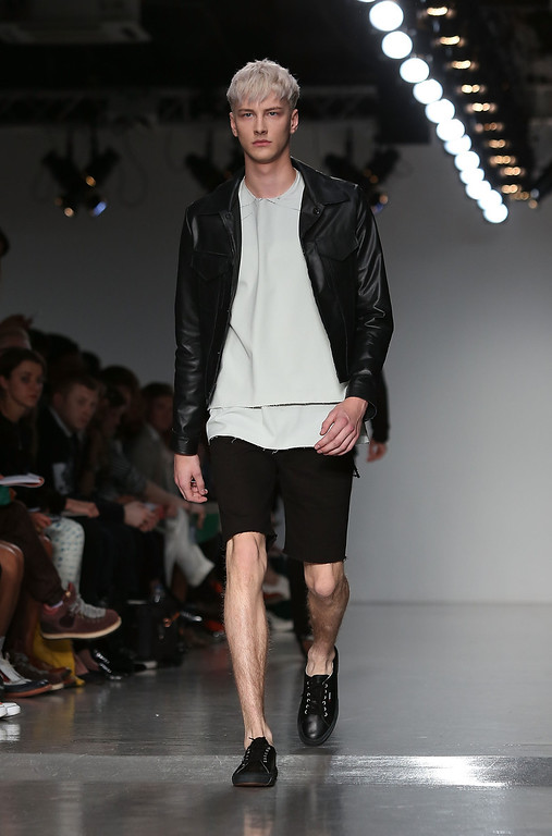 . A model walks the runway at the Matthew Miller show during the London Collections: MEN SS14 at Victoria House on June 18, 2013 in London, England.  (Photo by Tim P. Whitby/Getty Images)