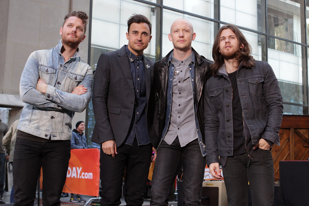 """. From left, Ben Wysocki, Joe King, Isaac Slade and Dave Welsh of The Fray perform on NBC\'s \""""Today\"""" show on Tuesday, Oct. 22, 2013 in New York. (Photo by Greg Allen/Invision/AP)"""