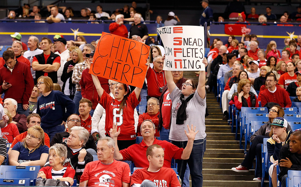 . Fans of the Ball State Cardinals cheer for their team against the Central Florida Knights during the Beef \'O\' Brady\'s St Petersburg Bowl Game at Tropicana Field on December 21, 2012 in St Petersburg, Florida.  (Photo by J. Meric/Getty Images)