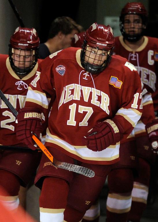 . DENVER, CO. - OCTOBER 25: Denver center Garrett Allen (17) skated onto the ice Friday night. The University of Denver hockey team hosted Niagara at Magness Arena Friday night, October 25, 2013. Photo By Karl Gehring/The Denver Post