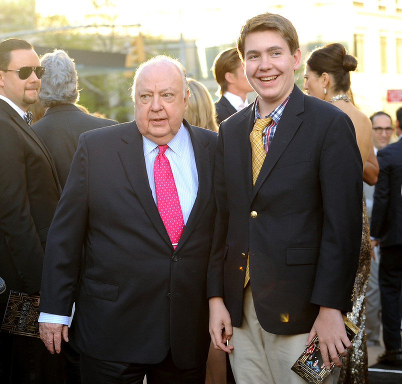 ". Fox News president Roger Ailes, left, and son Zachary attend ""The Great Gatsby\"" world premiere at Avery Fisher Hall on Wednesday, May 1, 2013, in New York. (Photo by Evan Agostini/Invision/AP)"