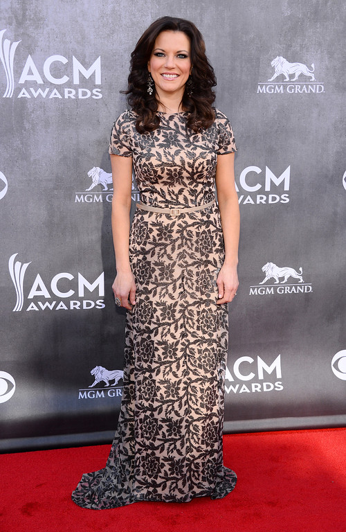 . CORRECTS NAME TO MARTINA MCBRIDE INSTEAD OF SHANIA TWAIN - Martina McBride arrives at the 49th annual Academy of Country Music Awards at the MGM Grand Garden Arena on Sunday, April 6, 2014, in Las Vegas. (Photo by Al Powers/Powers Imagery/Invision/AP)