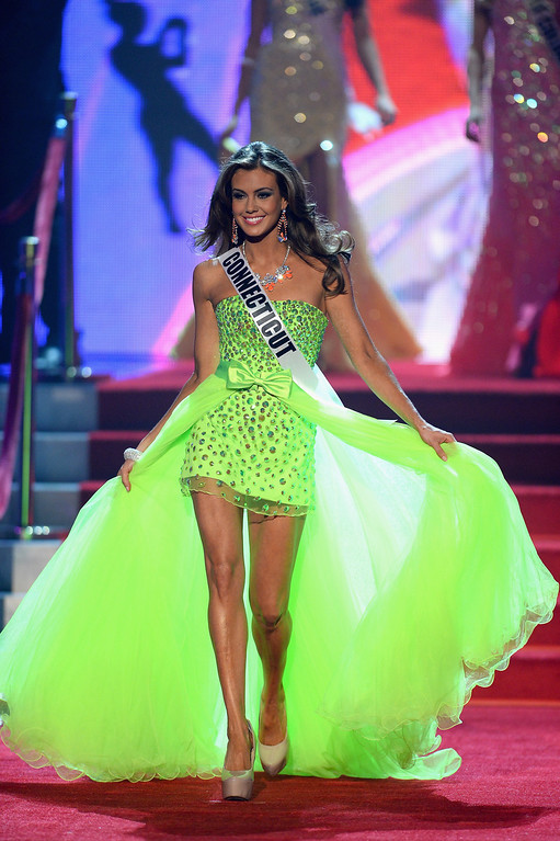 . Miss Connecticut USA Erin Brady walks onstage during the 2013 Miss USA pageant at PH Live at Planet Hollywood Resort & Casino on June 16, 2013 in Las Vegas, Nevada.  (Photo by Ethan Miller/Getty Images)