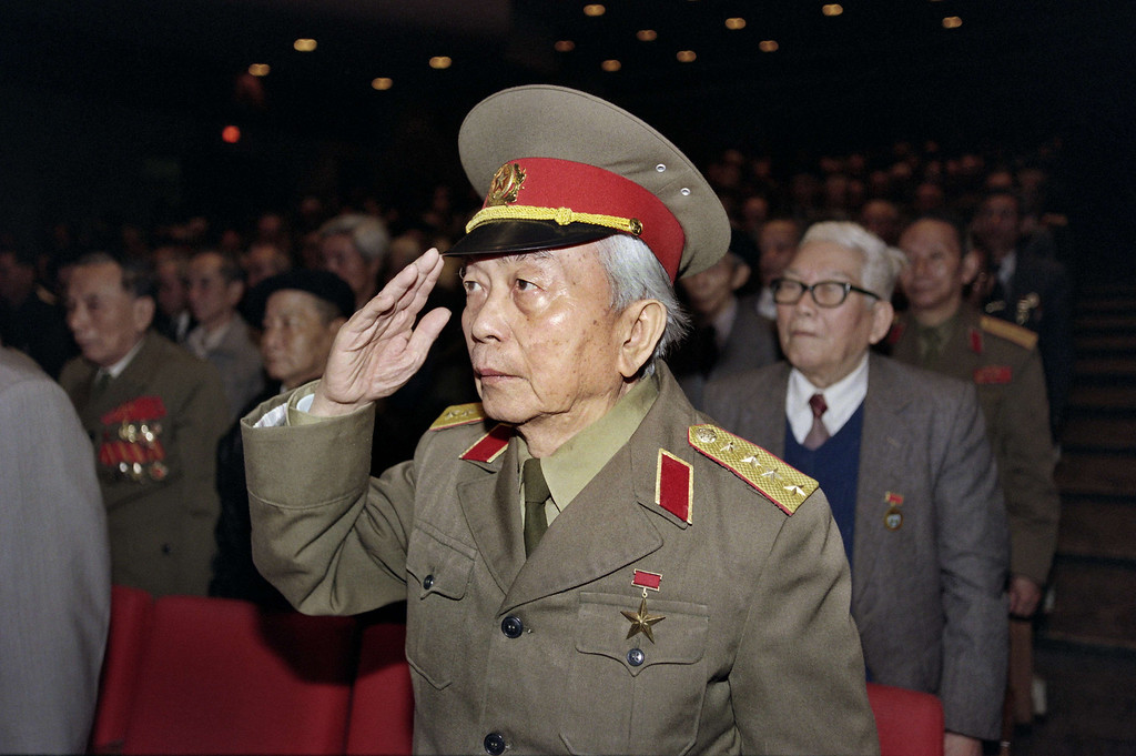 . In this file photograph taken on December 19, 1996, retired General Vo Nguyen Giap, salutes during a meeting held in Hanoi, to commemorate the war against the French launched 50 years ago on 19 December 1946. Vietnam\'s independence hero General Vo Nguyen Giap, whose guerrilla tactics defeated both the French and American armies, died on October 4, 2013, at the age of 102, a government source said. HOANG DINH NAM/AFP/Getty Images