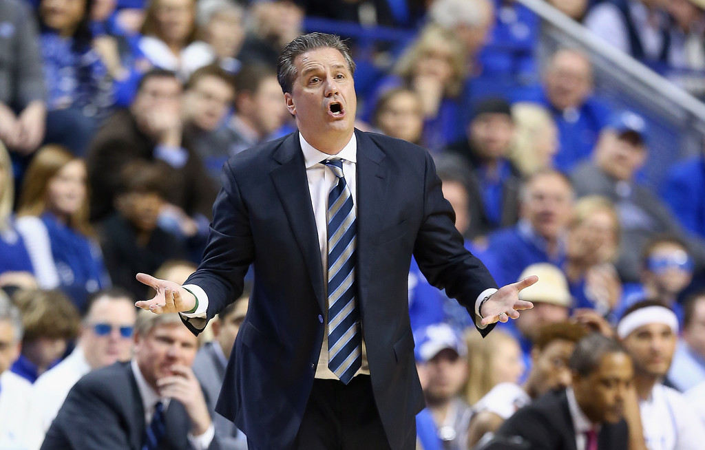 . John Calipari, head coach of the Kentucky Wildcats gives instructions to his team during the game against the Arkansas Razorbacks at Rupp Arena on February 27, 2014 in Lexington, Kentucky.  (Photo by Andy Lyons/Getty Images)