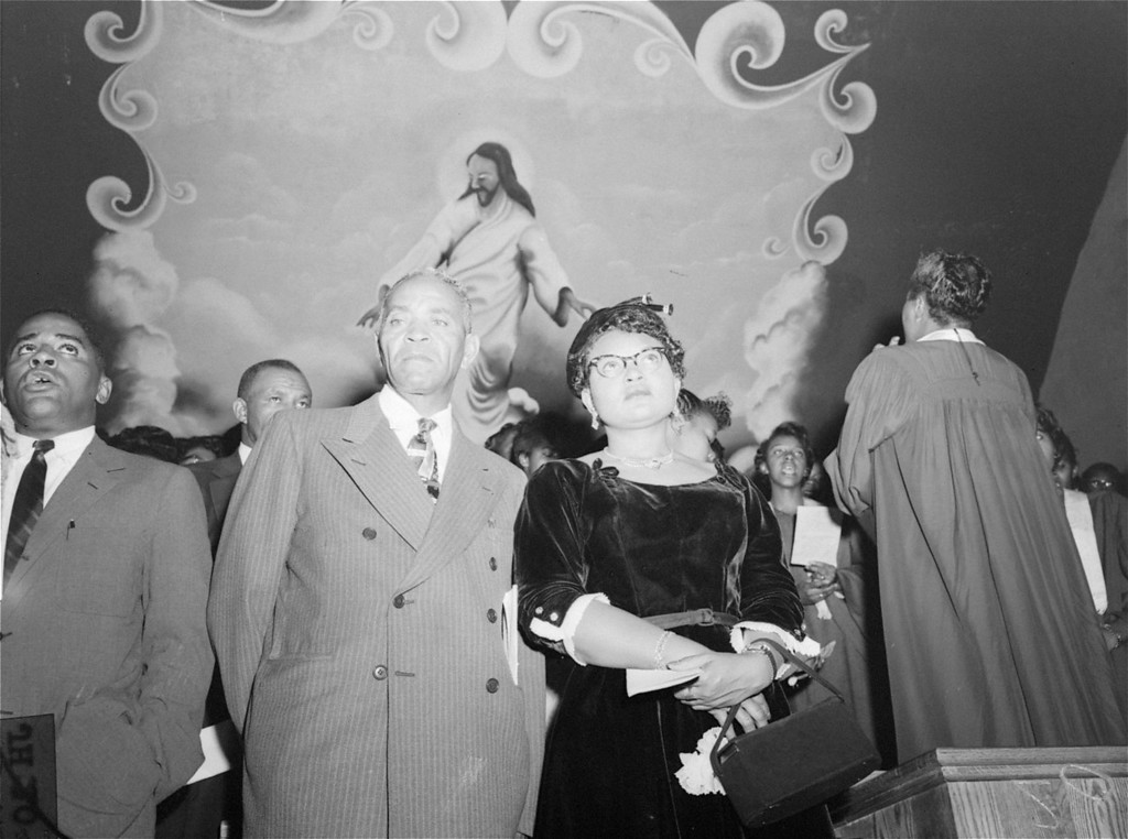 . Mrs. Mamie Bradley, mother of Emmett Louis Till, a black 14 year old slain in Mississippi, attends a rally in Williams Institutional Christian Methodist Episcopal Church at Seventh Avenue, between 131st and 132nd Streets, New York City, September 25, 1955, at which the verdict of last week\'s trial at Sumner, MS was denounced.  Mrs. Bradley told the rally that the acquittal of the two men accused of the murder of her son constituted a signal that lynching is now in order.   (AP Photo/stf)