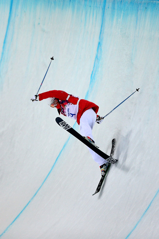 . Mirjam Jaeger of Switzerland crashes in the Freestyle Skiing Ladies\' Ski Halfpipe Finals on day thirteen of the 2014 Winter Olympics at Rosa Khutor Extreme Park on February 20, 2014 in Sochi, Russia.  (Photo by Cameron Spencer/Getty Images)