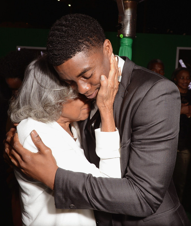 ". Widow of baseball player Jackie Robinson, Rachel Robinson (L) and actor Chadwick Boseman attend the after party for the Los Angeles premiere of Warner Bros. Pictures\' and Legendary Pictures\' ""42\"" on April 9, 2013 in Hollywood, California.  (Photo by Kevin Winter/Getty Images)"